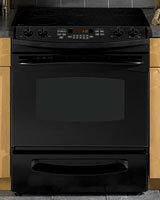 GE Profile PS900DPBB 30″ Slide-In Electric Range with 4 Radiant Elements, 4.4 cu. ft. Self Clean Oven, Electronic Oven Controls, Ceramic Glass Cooktop and Storage Drawer: Black  ->  GE Consumer and Industrial spans the globe as an i