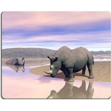 MSD Natural Rubber Gaming Mousepad IMAGE ID: 15062084 Thirsty rhinoceros drinking water next to another having a bath in the savannah by evening light