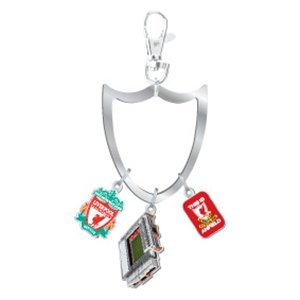 OFFICIAL LIVERPOOL FC 3 PIECE CREST & STADIUM AND THIS IS ANFIELD CHARM KEYRING SET
