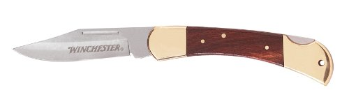Winchester Brass Folding Knife, 3.5-Inch, Leather Sheath [22-41322]
