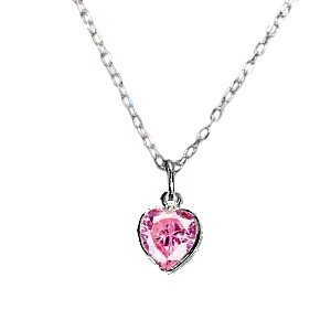 Pink Heart Necklace Cubic Zirconia and Sterling Silver Childrens and Teens