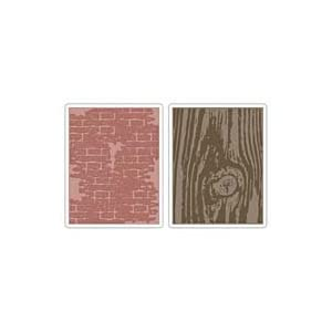 Texture Fades Embossing Folders By Tim Holtz: Bricked & Woodgrain
