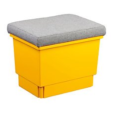 Cushioned 14 Tall Storseat Tote Storage Bench Yellow Office Products
