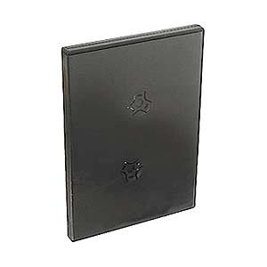 5 Black Thin Quad DVD Empty Replacement Boxes with Wrap Around Sleeve #DV4R14WTBK (14mm) (4DVD)