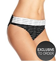M&S Collection Mono Striped Hipster Bikini Bottoms