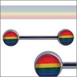 Body Accentz™ Nipple Ring Bars Rainbow Gay