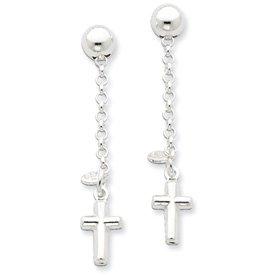 Sterling Silver Polished Cross Dangle Post Earrings