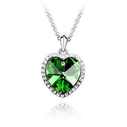 LovingtheBead© Highest Quality Fashionable 'Peridot Crystal' Heart Cluster Necklace & Chain