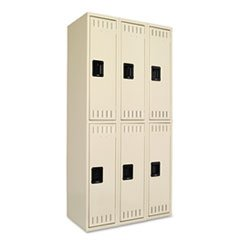 - Double Tier Locker, Triple Stack, 36w x 18d x 72h, Sand