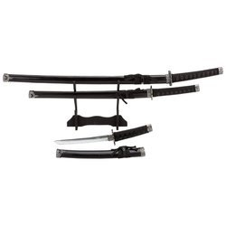Maxam 3pc 21/30/40 Inch Sword Set With Wooden Stand Sheath Katana-Style Handle Boxed