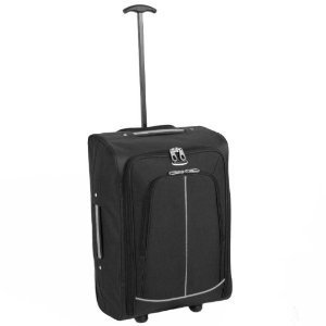 Black Grey Stripe Borderline 2 Wheeled Super Lightweight Hand Luggage Holdall Cabin Bag Suitable For Easy Jet Jet2 Ryanair Monarch First Choice British Airways Thompson by Borderline