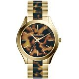Michael Kors Women's Runway 42mm Gold-Tone Dial Steel Bracelet & Case Quartz Tortoise Dial Watch MK4284