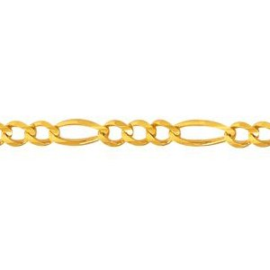 10K Solid Yellow Gold Figaro Chain Necklace 4mm thick 24 Inches