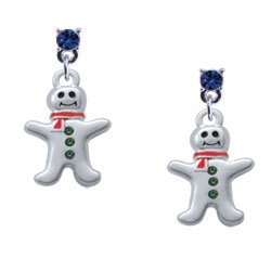 Silver Gingerbread Man with Red Scarf and Green Swarovski Crystal Buttons - 2...