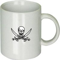 Awesome Graphics White Pirate Flag White Ceramic Coffee Cup [Kitchen]