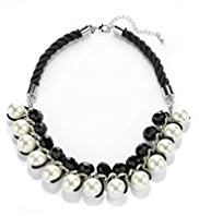 Per Una Pearl Effect & Multi-Faceted Bead Collar Necklace