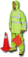 Mutual 14511 3 Piece PVC/High Visibility Polyester ANSI Class 3 Rain Suit, X-Large, Lime