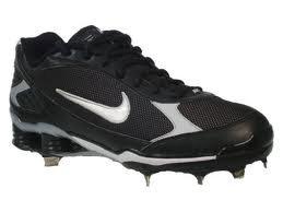 buy online 41440 b7b9a Nike Shox Fuse Metal Baseball Cleats - 317029, Black White, 15