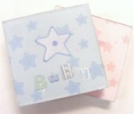 Blue Fabric Baby Boy Record Book Journal & Keepsake Box - Star Design