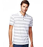 Pure Cotton Short Sleeve Striped Polo Shirt