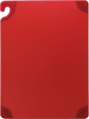 "San Jamar CBG182412 Saf-T-Grip Co-Polymer Standard Size Cutting Board, 24"" Length x 18"" Width x 1/2"" Thick, Red"