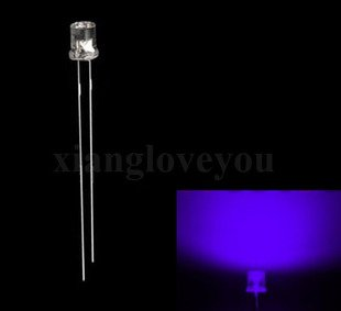 50Pcs 3Mm Wide Angle Flat Top Uv Purple Led