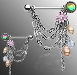 Nipple Ring Bars Dangle Beads Body Jewelry Pair 14 gauge Body AccentZ® HON028