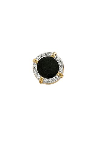 14K Yellow Gold Black Onyx Diamond Tie Tac .12 ct.-89287