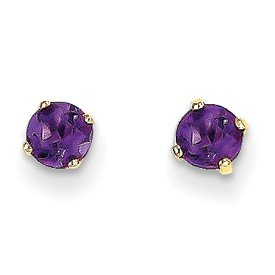 Genuine IceCarats Designer Jewelry Gift 14K 4Mm February/Amethyst Post Earrings