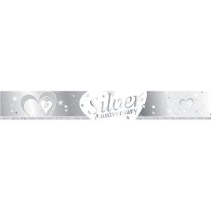 SILVER AND WHITE 25TH WEDDING SILVER ANNIVERSARY BANNER - 9FT (REPEATS 3 TIMES)