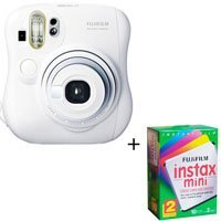 Fujifilm Instax Mini 25 Instant Photo Camera Kit, for Vivid Credit Card Size Instant Prints - White - with Fujifilm Instax Mini Instant Daylight Film, Twin Pack20 Exposures, ISO 800.