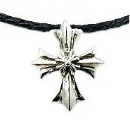"""Mens .925 Sterling Silver Cross Pendant on 4mm Black Leather Mens Necklace, 40mm x 32mm - 16"""""""