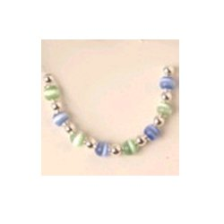Light Blue and Green Color Beaded Bracelet - Size 6.5 inches
