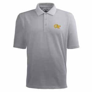 Georgia Tech Pique Xtra Lite Polo Shirt (Grey) - Large by Antigua