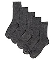 5 Pairs of Freshfeet™ Cotton Rich Ribbed School Socks