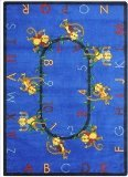 Joy Carpets Kid Essentials Early Childhood Round Monkey Business Rug, Blue, 7'7""