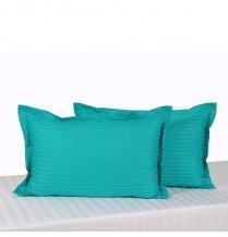 Swayam Drape And Dream Sonata Classic Satin Damask Cotton 2 Piece Pillow Cover Set - Aqua Turq (PCS02)