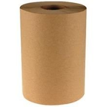 Boardwalk Kraft Natural 1 Ply Hardwound Towel - Nonperforated, 8 inch -- 12 rolls per case.