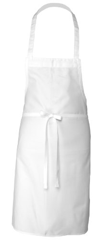Chef Works APKDC-WHT White Basic Bib Apron, 33-InchL by 27.5-InchW