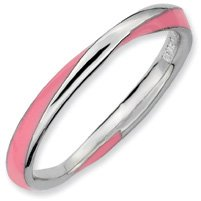 Silver Twisted Pink Enamel 2.5x2.25mm Stackable Ring. Sizes 5-10 Available