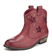 Star Sequin Embellished Western Boots
