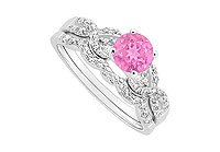 Pink Sapphire and Diamond Engagement Ring with Wedding Band Set 14K White Gold - 0.90 CT TGW MADE IN USA