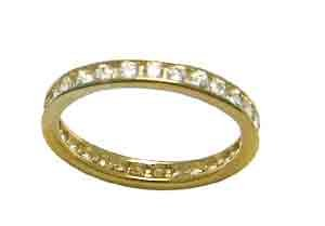 Size 8 Eternity Channel Set Cubic Zirconia Band 14k Yellow Gold Ring