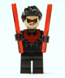 LEGO Nightwing minifigure (Red Version) - includes 2 Red Baton Weapons - 1