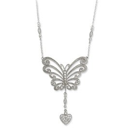 Sterling Silver CZ The Way Of Love 18inch Necklace - JewelryWeb
