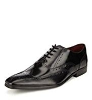 Autograph Leather Pointed Toe Brogue Shoes
