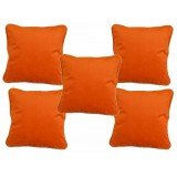 COT PRINTS 100% Cotton Velvet Plain Cushion Covers (14 Inches X 14 Inches)(SET OF 5 PCS)(ORANGE)