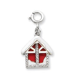 Sterling Silver Enameled and CZ House Charm - JewelryWeb