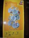 Original Peanuts Comic Strip Collection 7 Piece Mug Character Set w / Chrome-like Stand