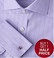 "2"" Longer Luxury Sartorial Pure Cotton Checked Shirt"